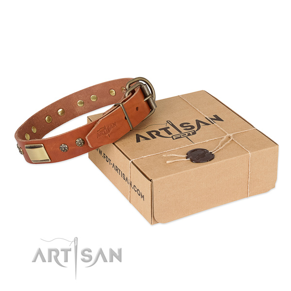 Inimitable natural genuine leather collar for your stylish doggie