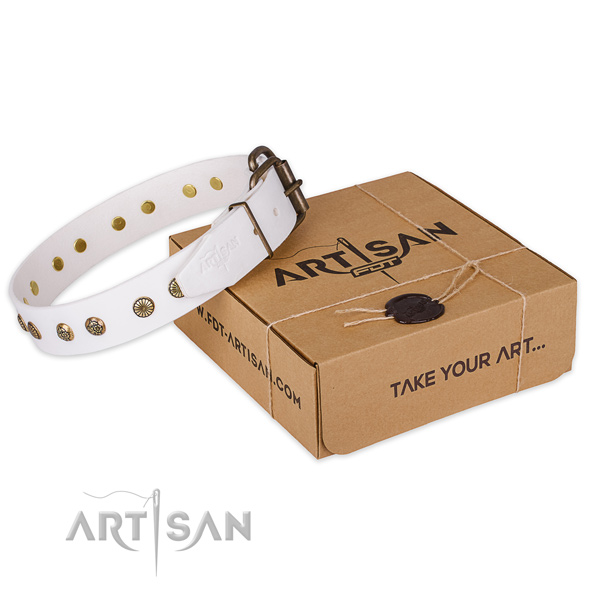Durable traditional buckle on natural genuine leather collar for your impressive dog