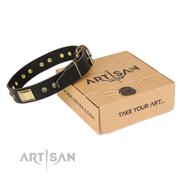 Fine quality genuine leather collar for your attractive doggie