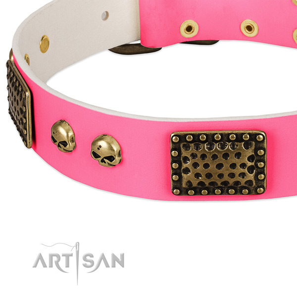 Rust resistant traditional buckle on leather dog collar for your four-legged friend