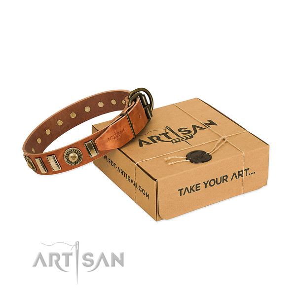 Flexible full grain genuine leather dog collar with reliable hardware