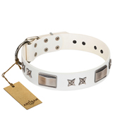 """Bling-Bling"" FDT Artisan White Leather Dogue de Bordeaux Collar with Sparkling Stars and Plates"