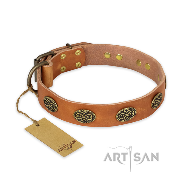 Embellished natural genuine leather dog collar with reliable fittings