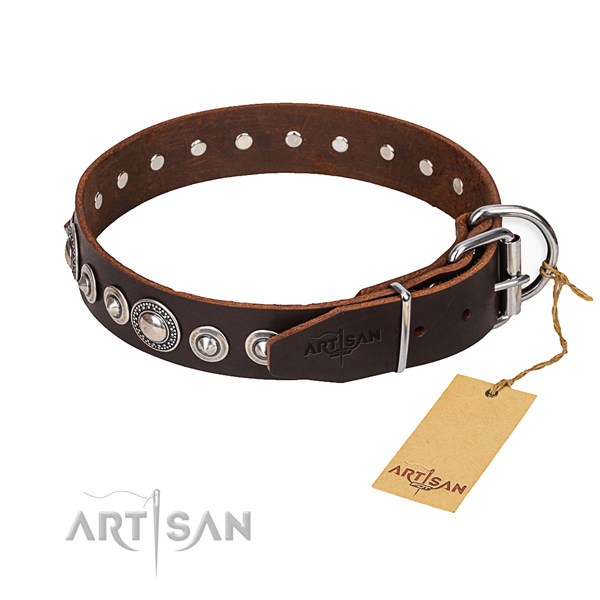 Full grain natural leather dog collar made of flexible material with reliable fittings
