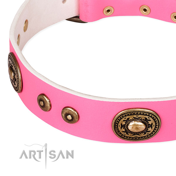 Full grain natural leather dog collar made of top rate material with decorations