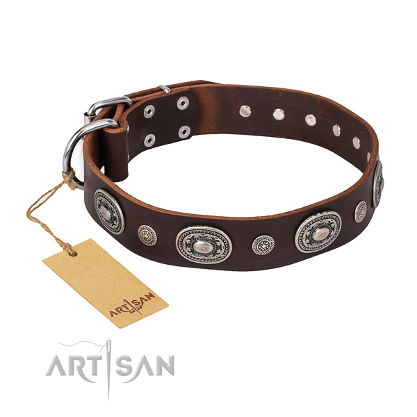 Flexible genuine leather collar handmade for your pet