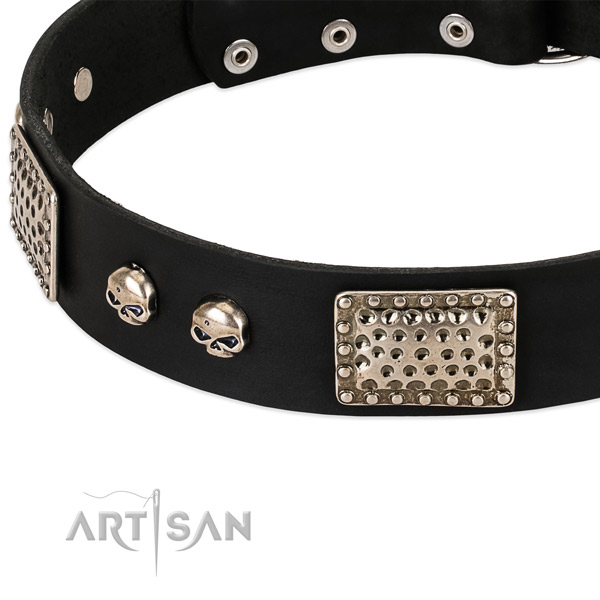 Rust resistant embellishments on full grain leather dog collar for your doggie