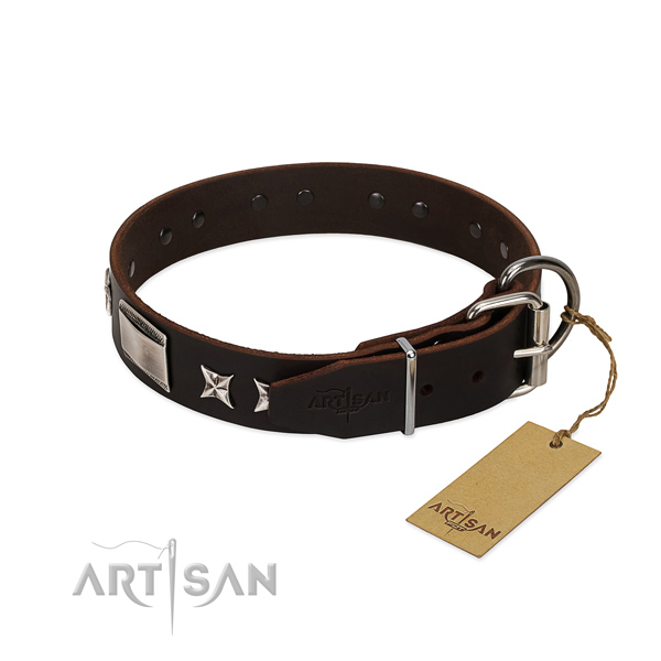 Exquisite collar of full grain natural leather for your lovely canine