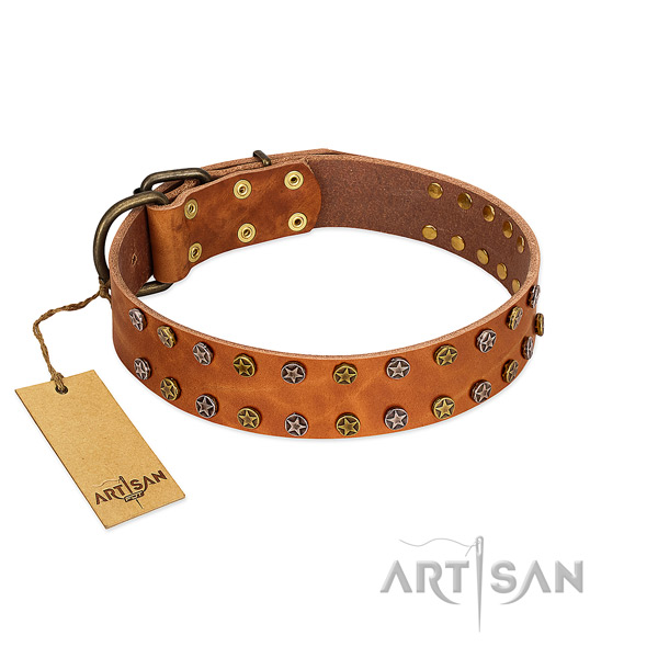 Comfy wearing flexible full grain natural leather dog collar with embellishments
