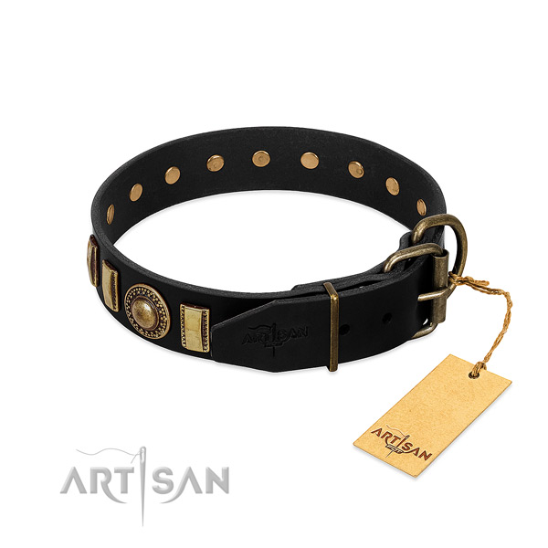 Durable full grain leather dog collar with decorations