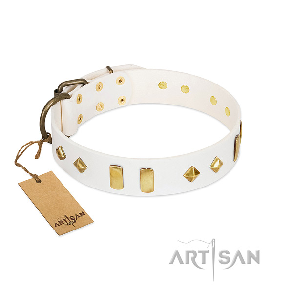 Comfy wearing gentle to touch leather dog collar with adornments