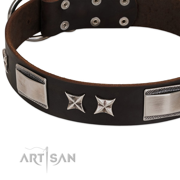 Inimitable collar of full grain natural leather for your lovely dog