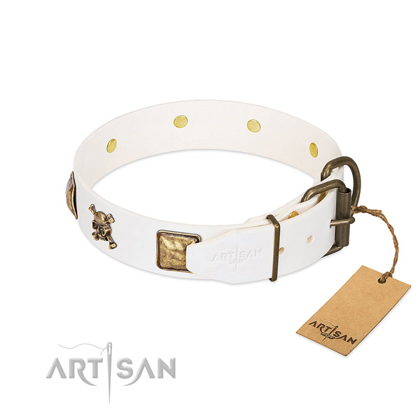 Top notch full grain genuine leather dog collar with reliable decorations