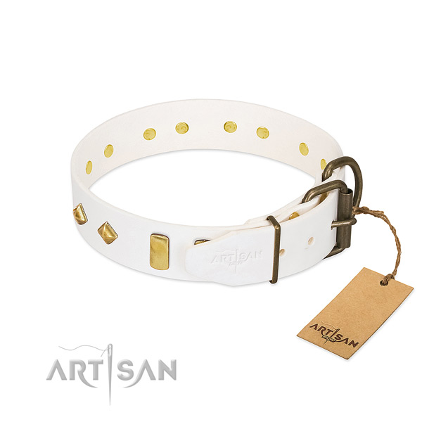 Best quality natural leather dog collar with strong hardware