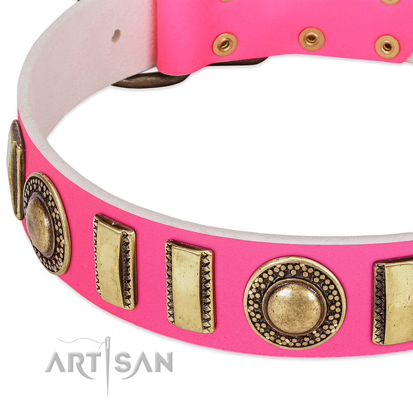 Flexible natural leather dog collar for your impressive dog