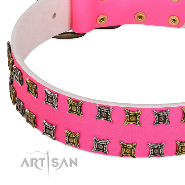 Full grain genuine leather dog collar with inimitable adornments