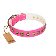 """Pawty Time"" FDT Artisan Pink Leather Dogue de Bordeaux Collar with Decorative Skulls and Brooches"
