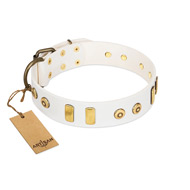 """Golden Union"" Elegant FDT Artisan White Leather Dogue de Bordeaux Collar with Old Bronze-like Dotted Studs and Tiles"