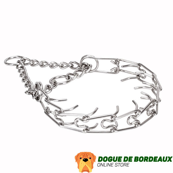 Prong collar of stainless steel for badly behaved pets