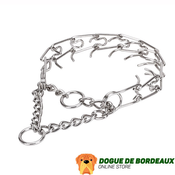 Adjustable stainless steel dog pinch collar with removable links for medium and large canines