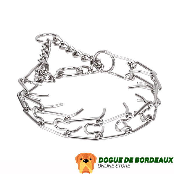 Rust resistant dog prong collar with stainless steel removable prongs