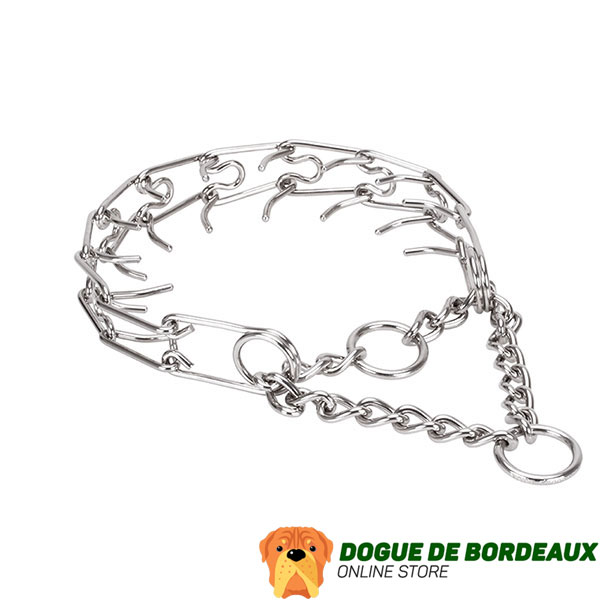 Prong collar of corrosion-proof stainless steel for ill behaved pets
