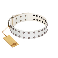 """White Night"" FDT Artisan White Leather Dogue de Bordeaux Collar with Vinatge Silver-like Studs"