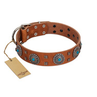 """Blue Sands"" FDT Artisan Tan Leather Dogue de Bordeaux Collar with Silver-like Studs and Round Conchos with Stones"