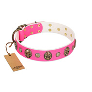 """Miss Pinky Fluff"" FDT Artisan Pink Leather Dogue de Bordeaux Collar Adorned with Conchos and Medallions"