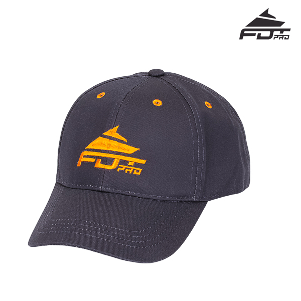 One-size Dark Grey Cap with Bright Orange Logo for Dog Walking