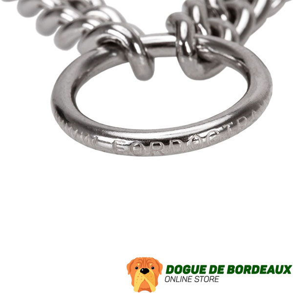 Dog prong collar with reliable stainless steel O-ring