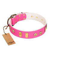 """Prim'N'Proper"" Handmade FDT Artisan Pink Leather Dogue de Bordeaux Collar with Old Bronze-like Dotted Studs and Tiles"