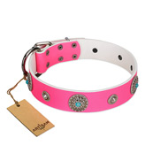 """Chili Mood"" Designer Handmade FDT Artisan Pink Leather Dogue de Bordeaux Collar"