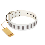 """Heaven's Gates"" Handmade FDT Artisan White Leather Dogue de Bordeaux Collar with Silver-Like Engraved Plates"