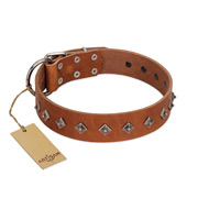 """Broadway"" Handmade FDT Artisan Tan Leather Dogue de Bordeaux Collar with Dotted Pyramids"