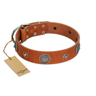 """Marine Antiques"" Handmade FDT Artisan Tan Leather Dogue de Bordeaux Collar with Blue Stones"