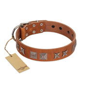 """Antique Figures"" FDT Artisan Tan Leather Dogue de Bordeaux Collar with Silver-like Engraved Plates"