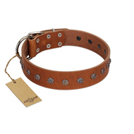 """Daintiness"" Designer Handmade FDT Artisan Tan Leather Dogue de Bordeaux Collar with Silver-Like Adornment"