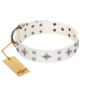"""The Milky Way"" FDT Artisan White Leather Dogue de Bordeaux Collar Adorned with Stars and Tiny Squares"