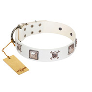 """Pirate Sloop"" Handmade FDT Artisan Designer White Leather Dogue de Bordeaux Collar with Crossbones"