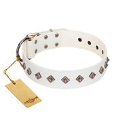 """Snowy Day"" Stylish FDT Artisan White Leather Dogue de Bordeaux Collar with Small Dotted Pyramids"