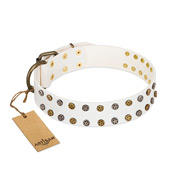 """Crystal Night"" FDT Artisan White Leather Dogue de Bordeaux Collar with Two Rows of Small Studs"