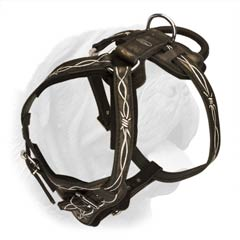 Durable Leather Dog Harness for Agitation-Protection Training