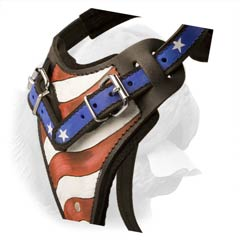 Quality Dogue de Bordeaux Breed Harness with Catching Stars and Stripes Pattern