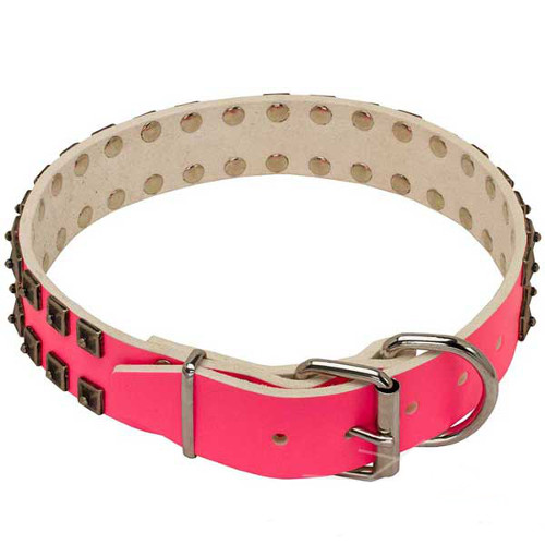 Lovely Pink Leather Collar for Dogue de Bordeaux
