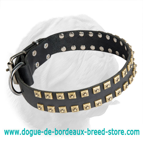 """Caterpillar"" Dogue de Bordeaux Leather Collar"