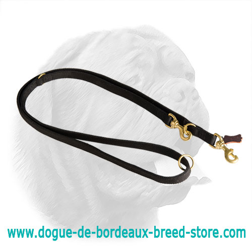 Heavy Duty Stitched 2 Ply Nylon Dogue de Bordeaux Multifunctional Leash 7 Feet Long