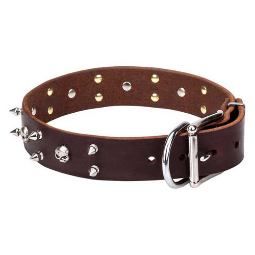 """Blackbeard"" Leather Dogue de Bordeaux Collar"