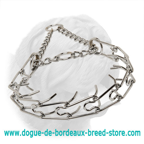 """Calm Down Effect"" Chrome Plated Pinch Collar for Dogue de Bordeaux - 1/8 inch (3.25 mm)"