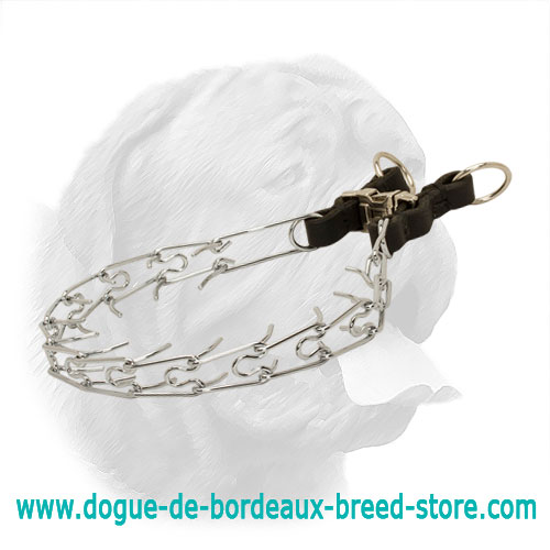 Stylish Chrome Plated Dogue de Bordeaux Pinch Collar with Leather Parts - 10390 (02) 1/6 inch (3.99 mm)